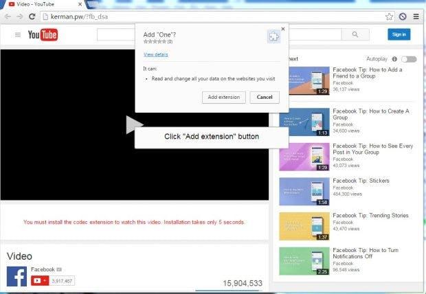 Auf einer solchen Fake-Youtube-Seite wird der Nemucod-Downloader geladen, der schließlich Locky auf den Rechner spielt. (Screenshot: Blaze's Security Blog)