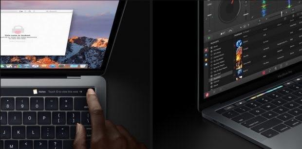 Die neue Touch Bar beim MacBook Pro einhaltet auch einen Fingerabdruck-Sensor. (Foto: Apple)