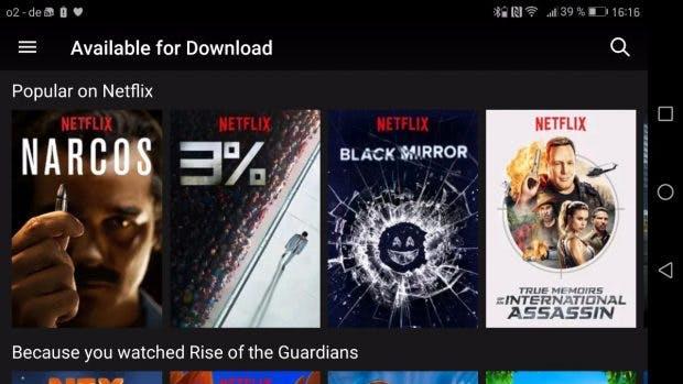 Die neue Version der Netflix-App zeigt jetzt an, welche Inhalte Offline konsumiert werden können. (Bild: t3n)