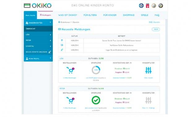 So sieht das Online-Konto von Okiko aus. (Screenshot: t3n)