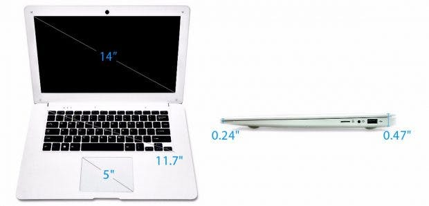 Das Pinebook kopiert den Look des Macbook Air. (Grafik: Pine64)