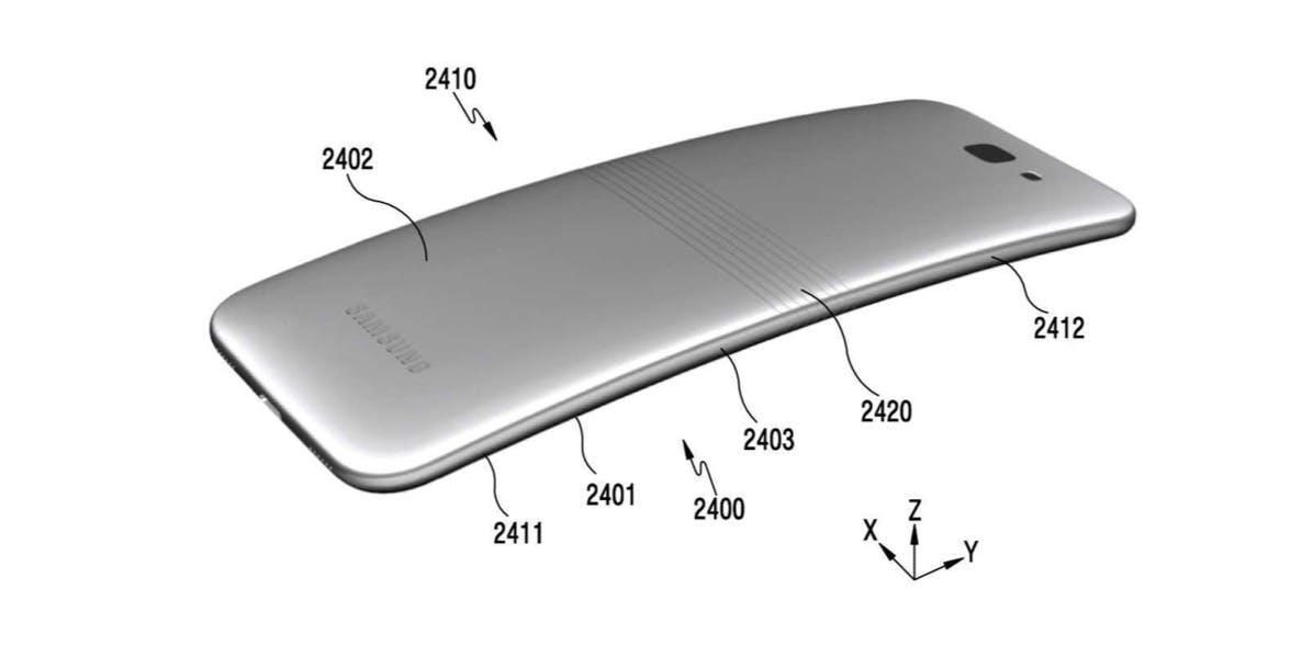 Das Samsung Galaxy X erscheint ein wenig gestreckt. (Bild: Kipris; Samsung)