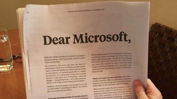 Slack schießt gegen Microsoft – mit einer höhnischen Print-Anzeige à la Apple
