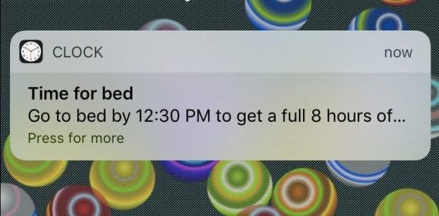 Die Bedtime-Funktion in deinem iPhone hilft besser einzuschlafen. (Grafik: Apple)