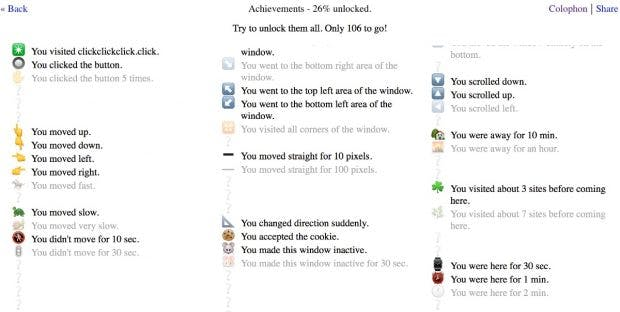 Browsergame zeigt, was Webseiten alles tracken könne. (Screenshot: clickclickclick.click/t3n)