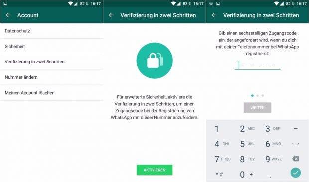 Whatsapp bietet jetzt auch eine Zwei-Faktor-Authentifizierung zum Schutz eures Kontos an. (Screenshots: Whatsapp)