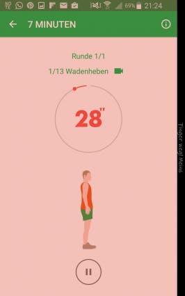 Apps für die Mittagspause - 7 Minuten: Schneller trainieren geht nicht (Screenshot: 7-Minuten-Training)