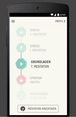 Apps für die Mittagspause - mental entspannen leicht gemacht (Screenshot: 7 Mind)