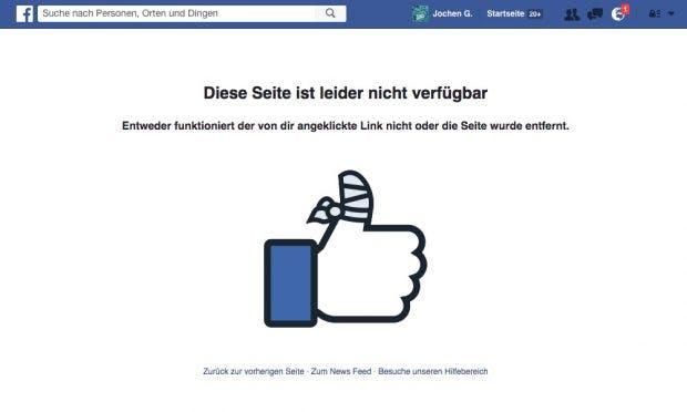 Die Facebook-Seite Galls ist nicht mehr erreichbar,der Markeninhaber Super Union Holdings Limited hat diese löschen lassen. (Screenshot: Facebook)