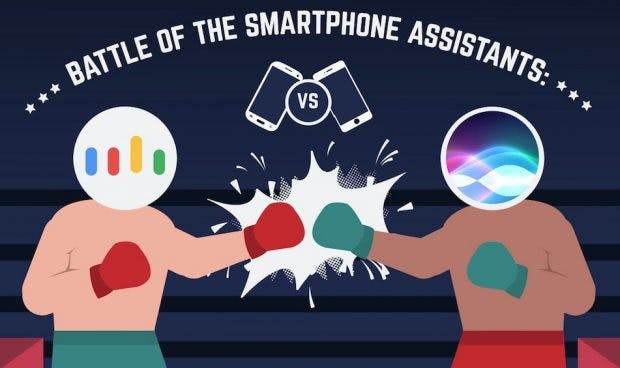 Welcher ist der bessere Smartphone-Assistent: Siri und Google Assistant im Vergleich. (Infografik: Zlated)