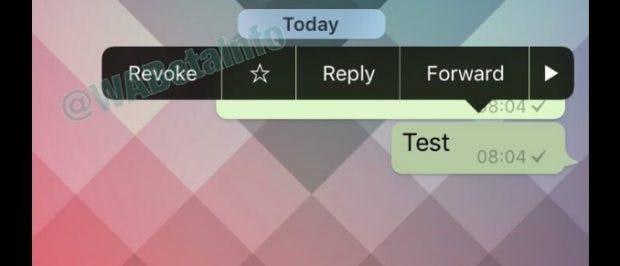 Revoke: So könnte die neue Whatsapp-Funktion aussehen. (Screenshot: Twitter/WABetainfo)