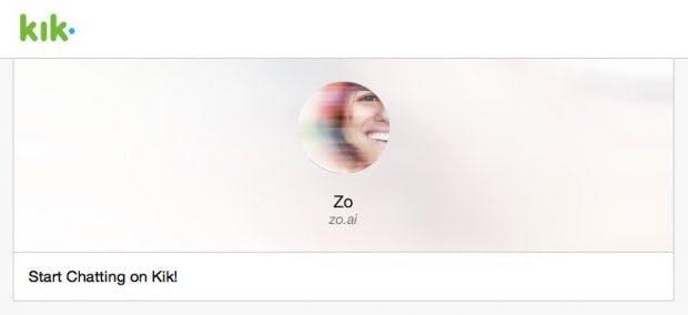 Bisher nur im Social Network Kik anzutreffen: der neue Microsoft-Chatbot Zo. (Screenshot: Zo.ai/t3n)