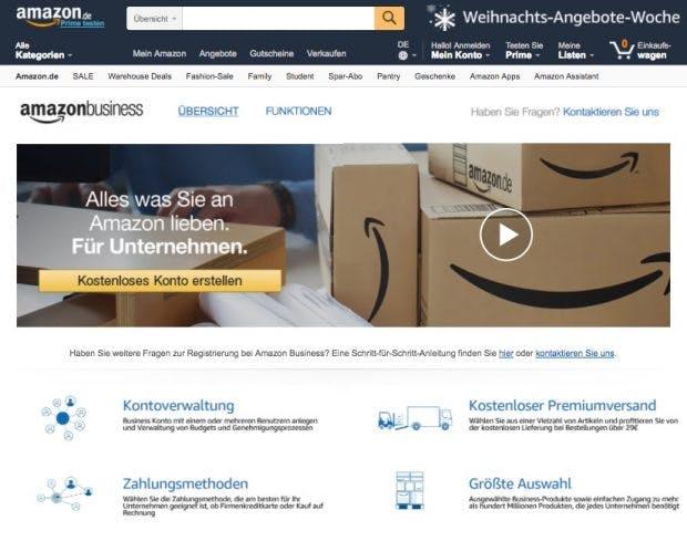 Das B2B-Portal Amazon Business ist jetzt auch in Deutschland gestartet. (Screenshot: Amazon)