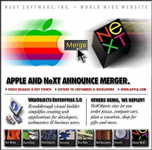 Apple übernimmt Next und holt somit auch Steve Jobs zurück ins Unternehmen. (Grafik: Apple Inc.)