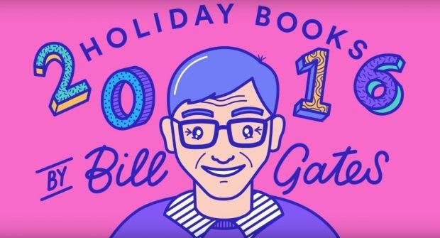 Bill Gates stellt fünf Bücher vor, die es ihm 2016 so richtig angetan haben. (Screenshot: Youtube)