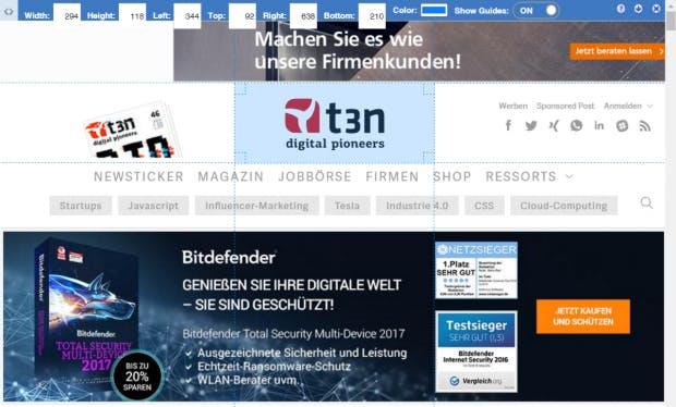 """""""Page Ruler"""" vermisst eure Webseiten. (Screenshot: t3n)"""