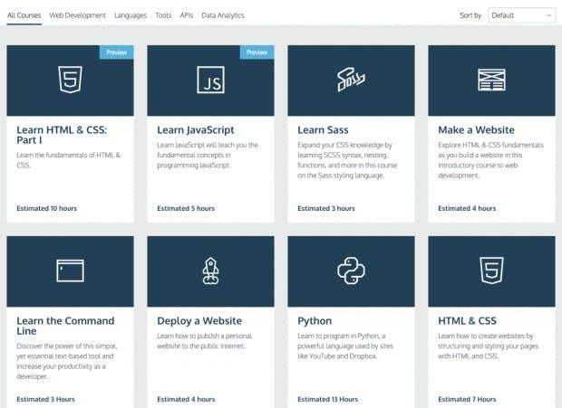 (Screenshot: codecademy.com)