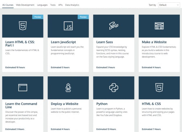 (Screenshot: codecademy.com)