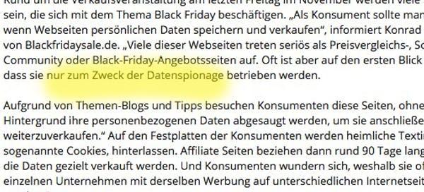 Ein Ausschnitt aus der Pressemitteilung der Black Friday GmbH. (Screenshot: Presseportal.de)