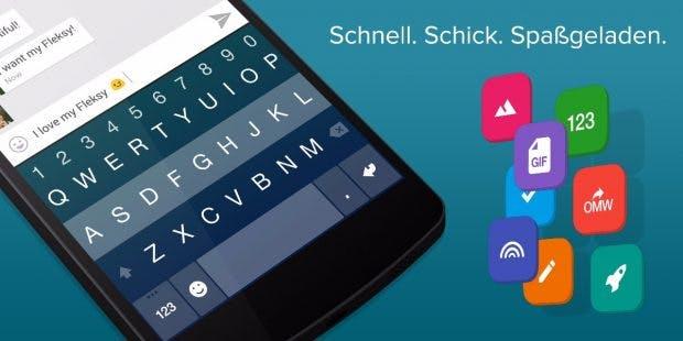 Fleksy - gewöhnungsbedürftige, aber gute und schnelle Android-Tastatur. (Bild: Fleksy)