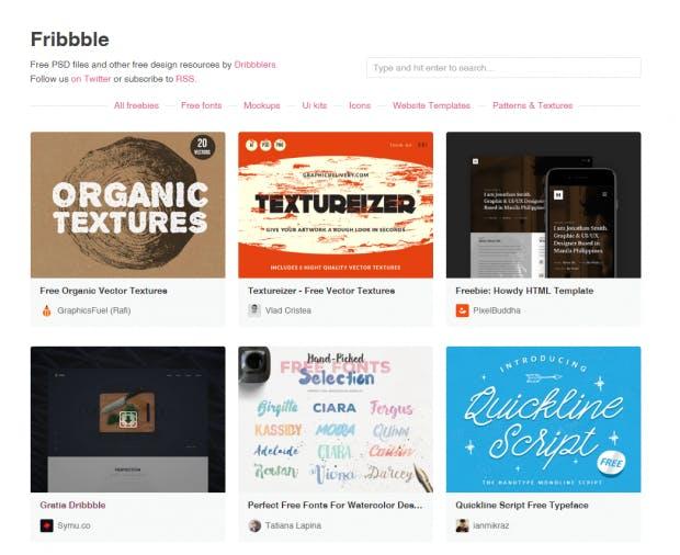 Fribbble sammelt Freebie-Shots aus Dribbble auf der eigenen Plattform. (Screenshot: t3n)