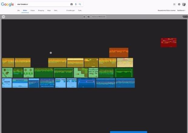 Eines der verspielteren Google-Eastereggs: Atari Breakout. (Bild: t3n; Google)