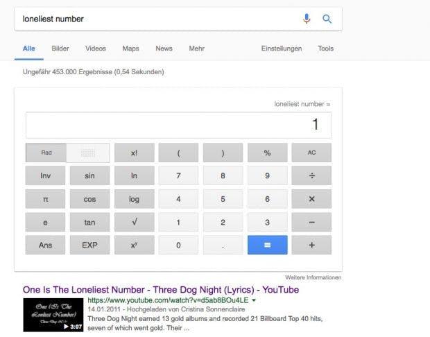 Google-Easteregg: die einsamste Zahl. (Bild: t3n; Google)