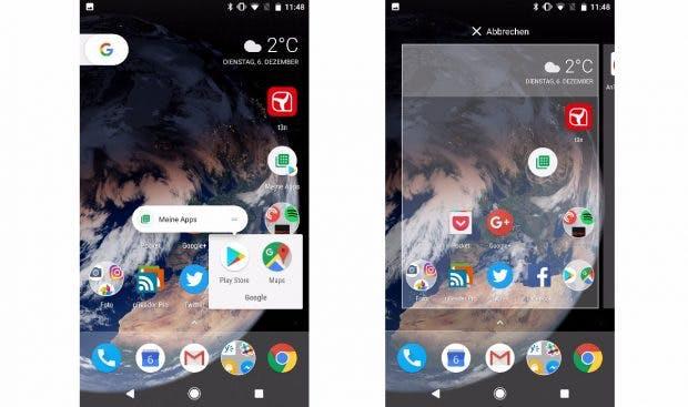 Funktionen, die ihr häufiger benötigt, könnt ihr mit den App-Shortcuts auch direkt den Homescreen legen. (Bild: t3n)