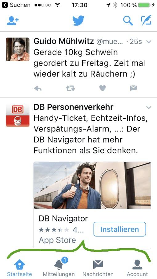 Twitter: horizontale Navigation