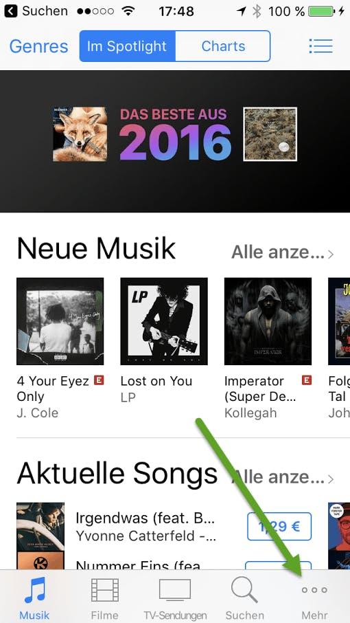 iTunes: Alternative unten rechts (Screenshot: t3n)