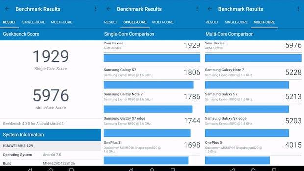 Huawei Mate 9: Geekbench 4 Single- und Multi-Core. (Messung nach Update auf nach Update auf vB126)(Bild: t3n)