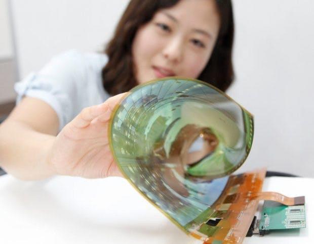 Prototyp eines flexiblen OLED-Displays von LG. (Foto: LG)