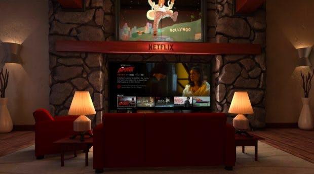Netflix VR: Die Einrichting des virtuellen Wohnzimmer ist Geschmacksache. (Screenshot: Play-Store)