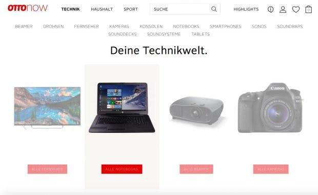 Drei Hauptkategorien bietet Otto Now zum Start. Das Produktangbeot soll aber noch erneuert werden. (Screenshot: Otto Now)