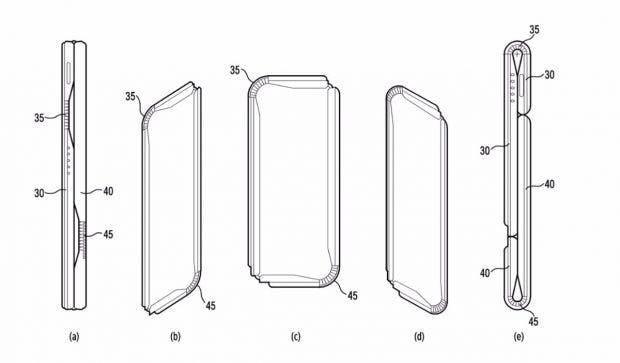 """Das """"Samsung Galaxy X"""" lässt sich den Patentskizzen zufolge auseinanderziehen und falten. (Bild: Kipris)"""