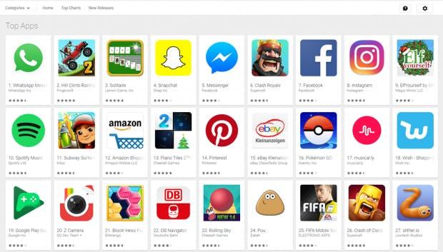 Top-Apps von heute: Keine Website als native App zu sehen. (Screenshot: t3n)