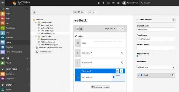 Das neue Formular-Framework zur Erstellung von Formularen in TYPO3 8.5. (Screenshot: TYPO3.org)