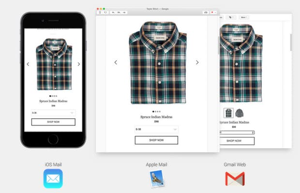 E-Commerce Design Trend: Bestellen aus de re-Mail heraus (Screenshot: Rebelmail)
