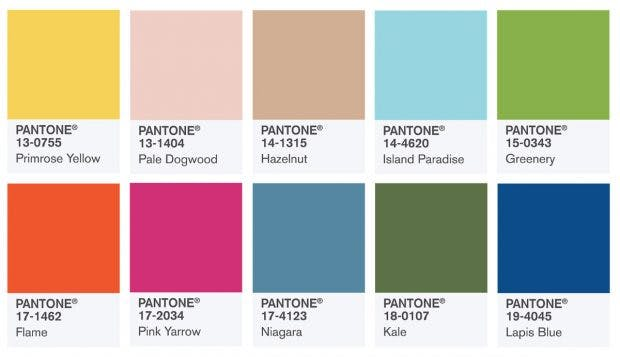 Trendfarben im Frühjahr 2017 (Bild: Pantone)
