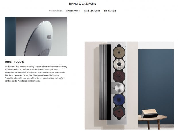 E-Commerce Design Trend: Raster auflockern (Screenshot: Bang &Olufsen)