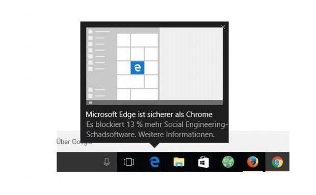 """Microsofts """"Hinweis"""" auf Edge-Vorteile für Chrome-Nutzer. (Screenshot: derStandard, Georg Pichler/Twitter)"""