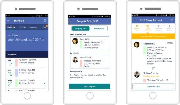 Microsoft Staffhub: Mitarbeiter rufen Dienstpläne und Infos am Handy ab. (Bild: Microsoft)
