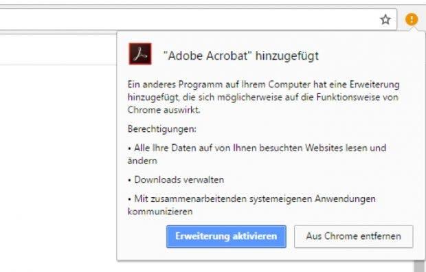 Adobe Acrobat: Chrome-Plugin automatisch mit Reader-Update hinzugefügt. (Screenshot: t3n)