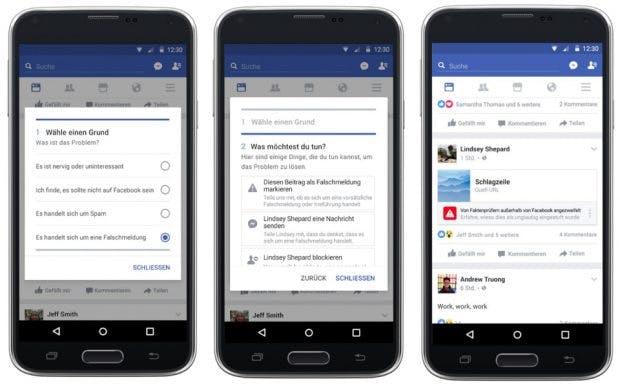 So stellt sich Facebook das Melden und die anschließende Kennzeichnung von Fake-News vor. (Bild: Facebook)