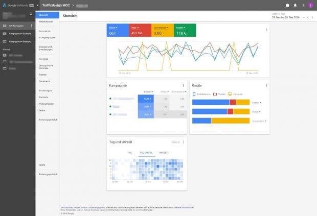 Google Adwords Redesign – ein erster Blick auf die Alpha-Version. (Screenshot: Trafficdesign)