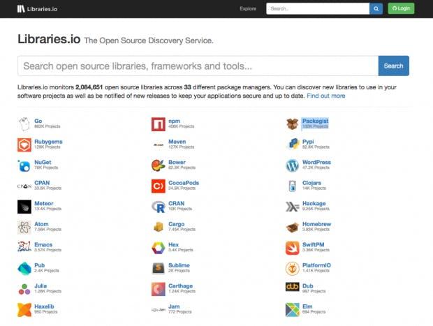 So sieht die Suchmaschine von Libraries.io aus. (Screenshot: t3n)