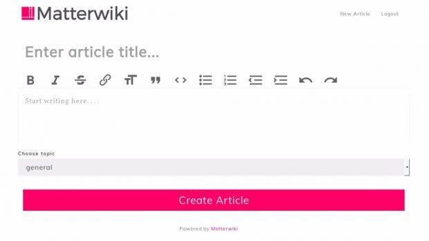 Wiki: Mit seinem einfachen Interface richtet sich Matterwiki vor allem an kleine Teams. (Screenshot: Matterwiki)