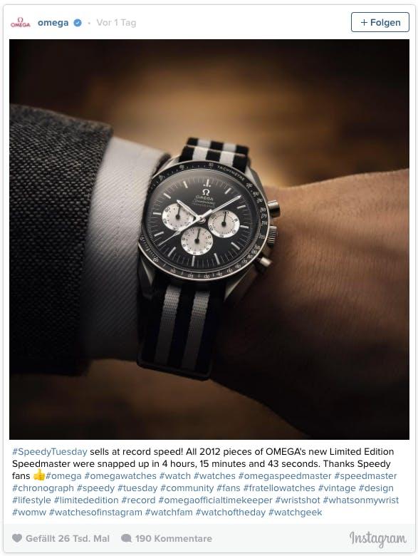 So präsentierte sich Uhrenhersteller Omega erstmalig auf Instagram. (Bild: Screenshot)