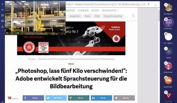 Opera Neon: Den Video- und Audio-Player könnten wir uns auch gut in anderen Browsern vorstellen. (Screenshot: Opera Neon)