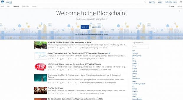 Steemit ist eine Blogging-Plattform mit integrierter Kryptowährung. (Screenshot: steemit.com)
